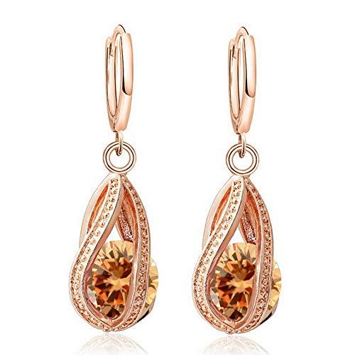 Campton Multicolor 1Pair 18k Gold Plated Cubic Zirconia Charm Long Hoop Earrings | Model ERRNGS - 886 |