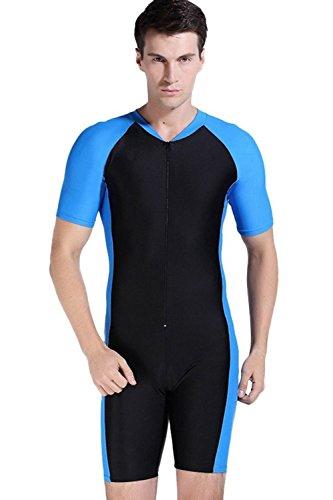 Sandbank Men's Short Sleeve Rashguard Swimwear One Piece Swimsuit Swim Suits (US M, Black-blue)