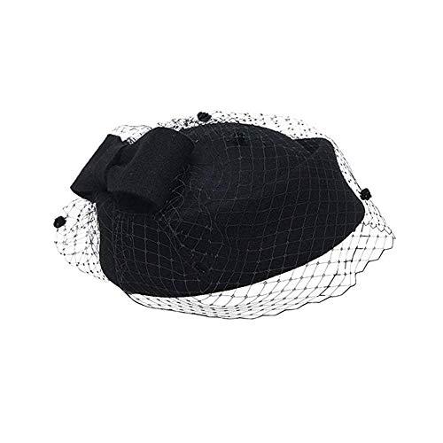 Kaptin Women Fascinator Hats,Wedding Hats,Vintage Hat,Pillbox Hat Veil Party Hat Veil Headband Tea Party Headwear (Black)