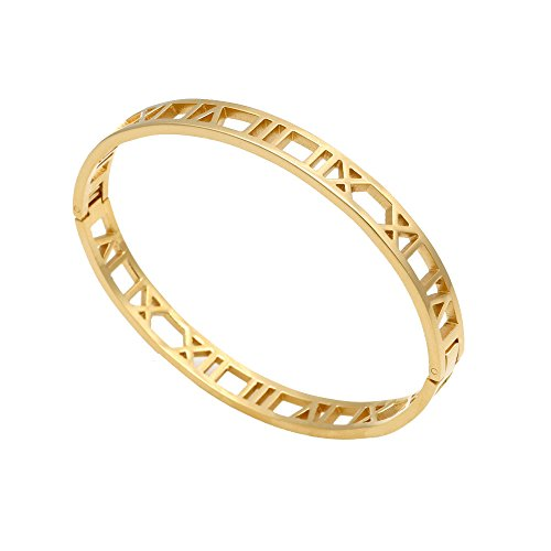 (Baoliren 18k Gold Titanium Roman Numeral Bracelet Bangle for Women)