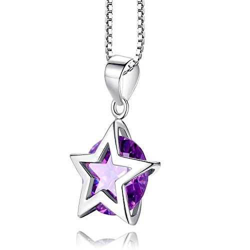 Sterling Silver Purple Lucky Star Pendant Necklace, Great Gift For Lovers, Teens, Womens