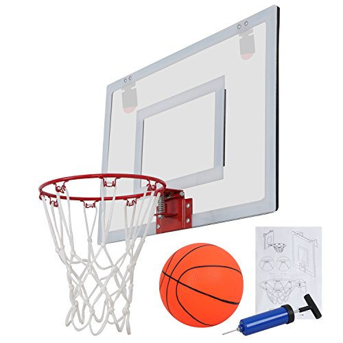 F2C Over The Door Wall Mount Indoor 9.5'' Mini Basketball Hoop Net Goal Set with 5.5'' Ball, Ball Pump, 23''X 16'' Backboard Basketball Toy Game Home Office Decor for Kids Education Basketball Lovers by F2C