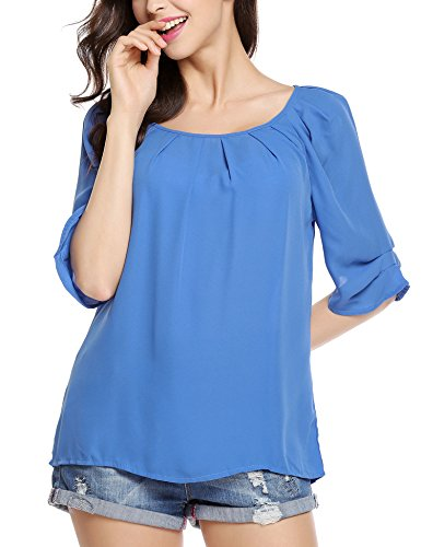 Women Chiffon Rolled Sleeve Scoop Neck Pleated Blouses Tops