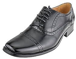 Aldo Bellini Men's Classic Wingtip Oxford, Black Faux Leather, 8 D(M) US