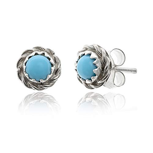 $80Tag Delicate Silver Certified Authentic Navajo Native American Natural Turquoise Stud Earrings 27228