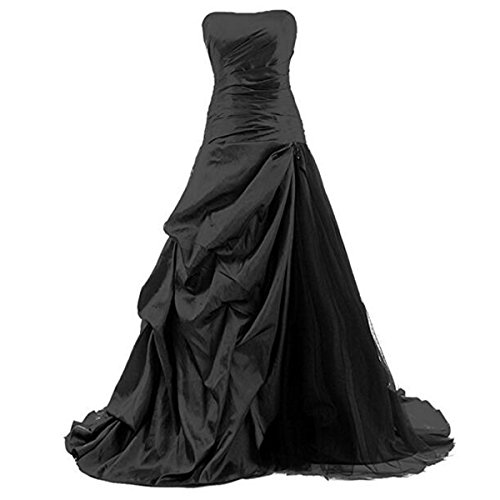 (Fair Lady Formal Women's Evening Gown Taffeta Strapless Wedding Party Dress (22, Black))