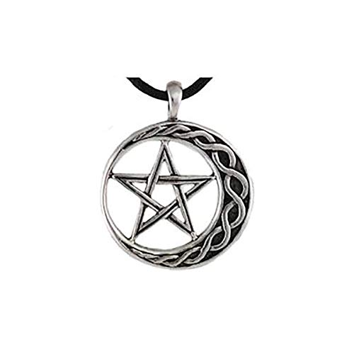Wiccan Pentagram on Moon for Stability Pendant with Black Corded Necklace ()