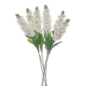"Lily Garden Set of 6 Stems 32"" Artificial Antirrhinum Snapdragon Silk Flowers (White) 33"