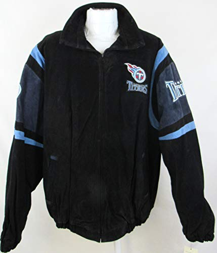 G-III Sports Mens Tennessee Titans Full Zip Suede/Soft Leather Jacket with Embroidered Logos, Size XXL