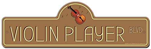 - SignMission Violin Player Street Sign | Indoor/Outdoor | Funny Home Décor for Garages, Living Rooms, Bedroom, Offices personalized gift