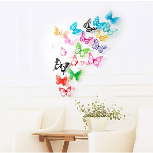 Vacally 18pcs Wall Decor Wallpaper Wall Stickers Decal Home Decorations 3D Butterfly Rainbow Kids Living Room Bedroom Background]()