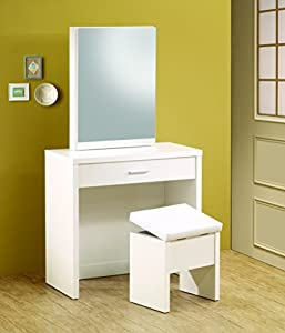Coaster Home Furnishings Contemporary 3 Piece Vanity Table Set With Sliding  Mirror And Stool Storage   White