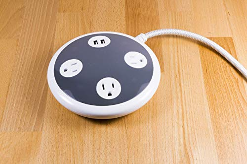 Surge Protector Power Strip USB Charger, 3 Outlets, 2 USB Ports, 2.4A Fast Charging, 8 Ft Braided Extension Cord, Flat Plug, Round Desktop Power Center, 450 Joules, ETL Listed, Gray/White, 41386 by Jasco (Image #3)'