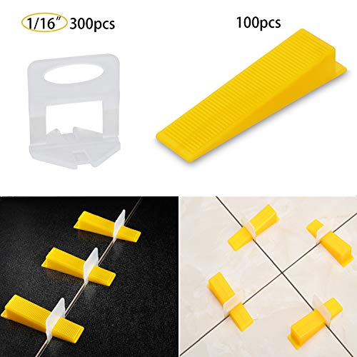 Tile Leveling System Tiles Leveler Spacers - Lippage Free Tile and Stone Installation for PRO and DIY - 300-Piece Leveling Spacer Clips Plus 100-Piece Reusable Wedges (1/16 Inch)
