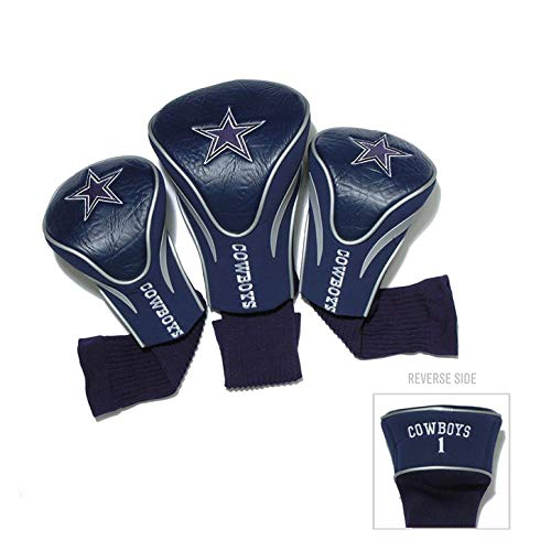 (Team Golf NFL Dallas Cowboys Contour Golf Club Headcovers (3 Count), Numbered 1, 3, & X, Fits Oversized Drivers, Utility, Rescue & Fairway Clubs, Velour lined for Extra Club Protection )