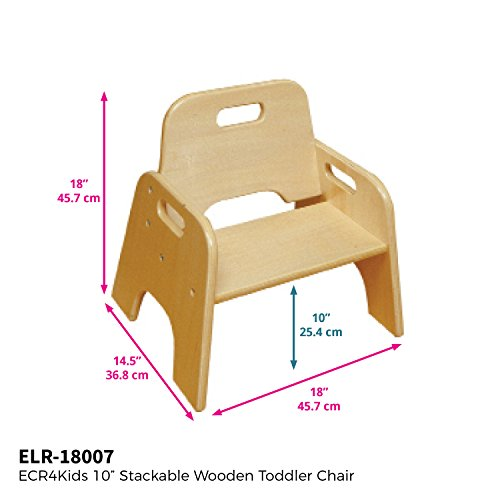 "ECR4Kids 10"" Stackable Wooden Toddler Chair, Natural (2-Pack)"