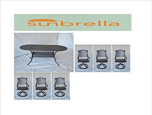 Nassau Outdoor Patio 7pc Oval Dining Table 42 x 72 Dark Bronze Cast Aluminum, Sunbrella Sesame Cushions