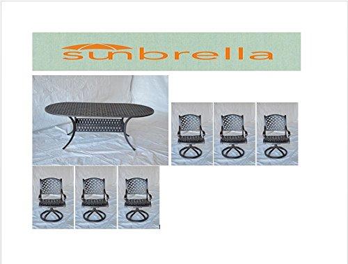 - Nassau Outdoor Patio 8pc Oval Dining Table Set Dark Bronze Cast Aluminum, Sesame Cushions