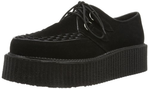 [Pleaser Men's V-Creeper 502S Lace-Up,Black Imitation Suede,8 M US] (Halloween Costumes Platform Shoes)