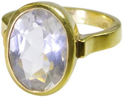 personable Crystal Quartz Gold Plated White Ring exporter L-1.5 US 9.5