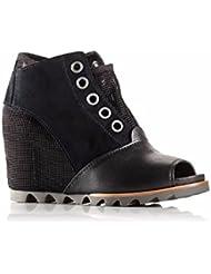 SOREL Womens Joanie Mesh Wedge Open Toe Boots-Black/Dove