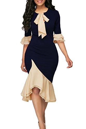 Yacun Women Bodycon Dress Cocktail Work Half Sleeve Bow Tie Party Dresses Darkblue M (Yacun Women Dress)