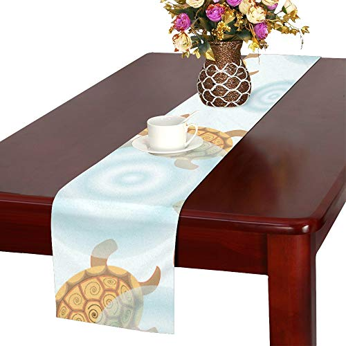 JTMOVING Seamless Turtles and Circles On The Water Backgrou Table Runner, Kitchen Dining Table Runner 16 X 72 Inch for Dinner Parties, Events, Decor -