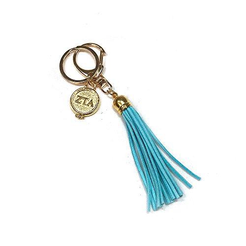 Zeta Tau Alpha Sorority Fringe Tassel Keychain with Letters Key Attachment ZTA