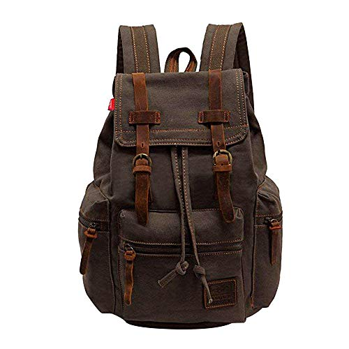 (High Capacity Canvas Vintage Backpack - for School Hiking Travel 12-15.6