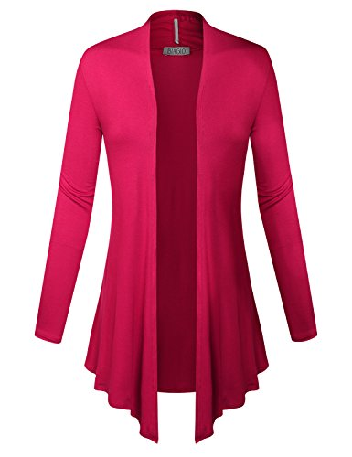 (BIADANI Women Open Front Lightweight Cardigan With Side Pockets Fuchsia X-Large)