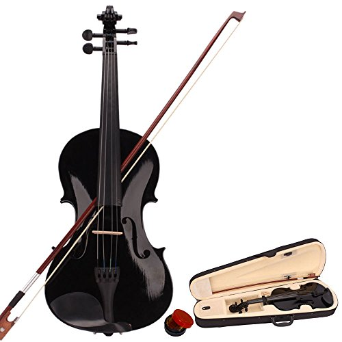 Tenozek 4/4 Full Size Violin,Natural Solid Wood Satin Acoustic Starter Kit with Case, Bow, Rosin, Shoulder Rest, Bridge(4/4, Black)
