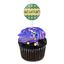 Save Our Planet It's the Only One We've Got Cake Cupcake Toppers Picks Set
