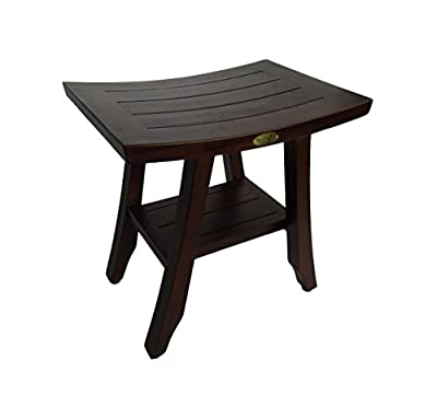 "DecoTeak Satori 18"" Eastern Style Teak Shower Bench With Shelf"
