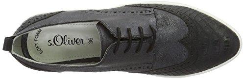 s.Oliver 23652, Zapatos de Cordones Derby para Mujer Negro (BLACK METALLIC 35)