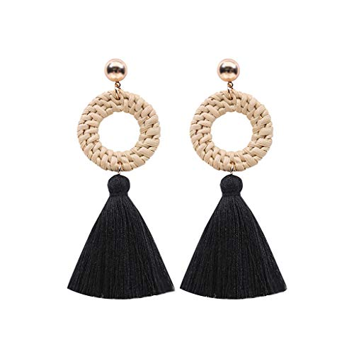 Bohemian Rattan Tassel Earring Hollow Round Alloy Multilayered Ear Drop Bohemian Geometric Braid Tassel Earring for Women Girl Decoration (black)