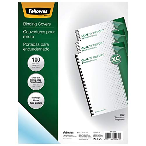 Fellowes Binding Presentation Covers, 8mil, Letter, 100 Pack, Clear (52089) (Renewed)