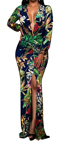 Bodycon Green Women's Cromoncent Maxi Cut Long Dress Split Printed Sleeve Low Sexy 7P1gqY
