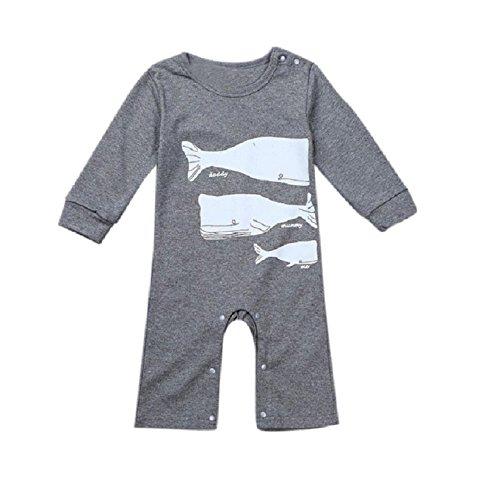 Overdose kind Säuglings Baby-Jungen baby-Mädchen Drucken Romper Overall Bodysuit Kleidung Outfits (80, Grau)