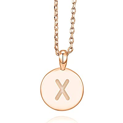 PAVOI 14K Rose Gold Plated Initial Alphabet Pendant Necklace Personalized Gifts for Women