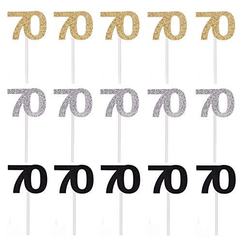 Qibote 36 Pieces Glitter Number 70 Cupcake Toppers for 70th Birthday Cupcake Decoration 70 Birthday Party Supplies