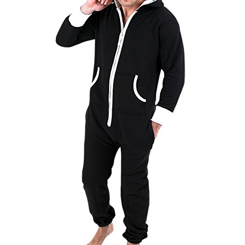Haseil Men's Onesie Pajamas Non Footed With Hood Front Zipper One Piece Jumpsuit, BLK1, Tag Size 2XL=US Size (Onesie For Male Adults)