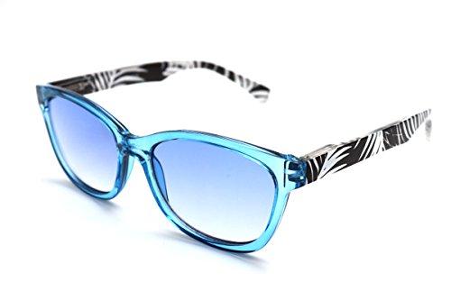 - ColorViper Color Tinted Reader Reading glasses keep calm , creativity , cheerfulness, concentration (medium transparent blue w/ zebra, 1.00)