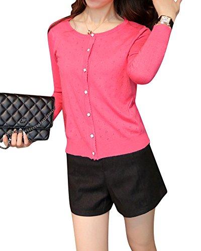 de Cardigan Slim petit chale Courte Femme creuse conception section manteau de Rouge Past EUqTWS0