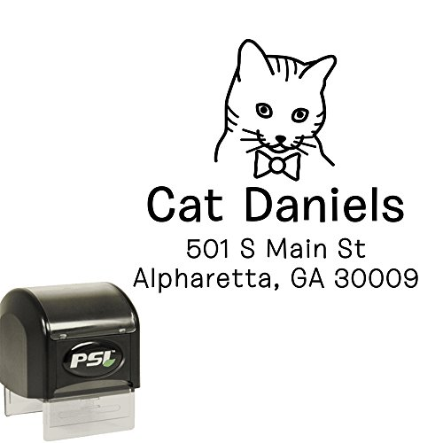 (Cat Wearing Bow Tie Return Address Stamp - Custom Personalized Self Inking Stamper, Black Ink, Cute Cat Lady Gift)