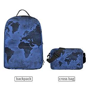 LUPINZ – Mochila Multiusos con diseño de mapamundi, Color Azul Oscuro