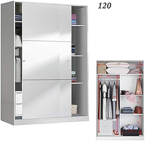 HABITMOBEL Mueble Armario Dormitorio 2 Puertas correderas 120 con Fondo reducido de 50 cm (CAJONERA INCLUIDA): Amazon.es: Hogar