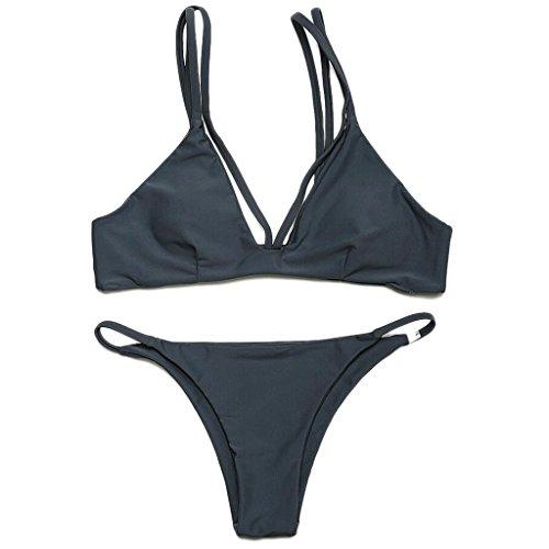 Traje de baño de las señoras Traje de baño de moda de color sólido Split bikini Spa traje de baño de playa Bikini Negro