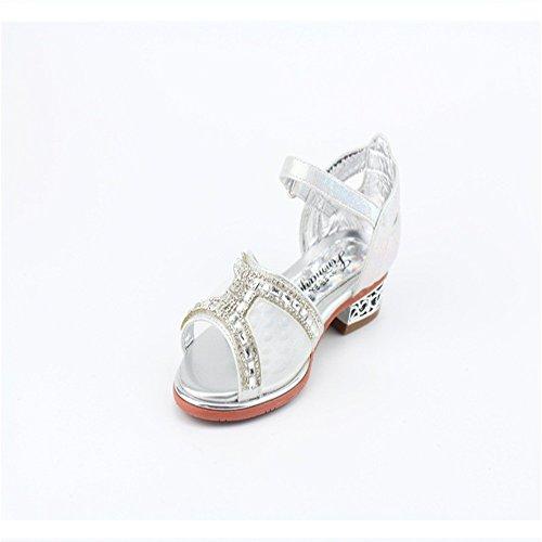 ZGSX sandalias de verano de los nuevos niños pequeños zapatos de diamantes de imitación sandalias de tacón alto dulces Rosado