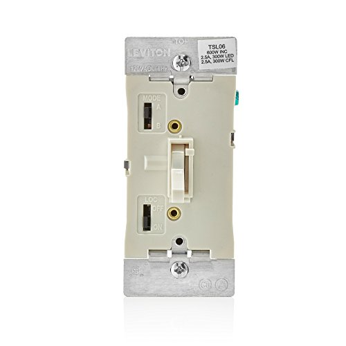 (Leviton TSL06-1LT Toggle Slide Universal Dimmer, 300-Watt Dimmable LED and CFL, 600-Watt Incandescent and Halogen for Single Pole or 3-Way, with Locator Light, Almond)
