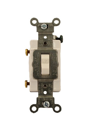 Leviton CS115-2W 15 Amp, 120/277 Volt, Toggle Single-Pole Ac Quiet Switch, Commercial Grade, Grounding, White